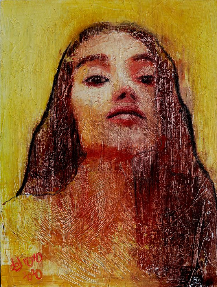 Retrato femenino moderno diferente actual y vibrante realizado con una variedad de técnicas