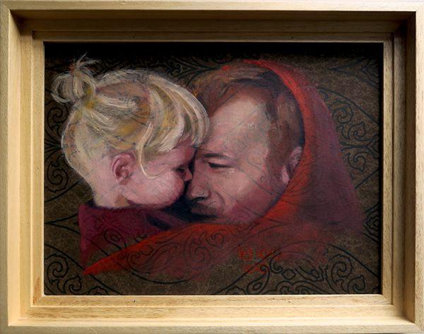 Retrato de padre e hija en óleo sobre papel pintado