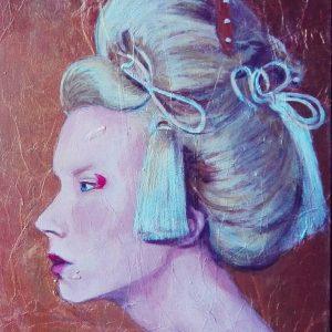 Madame Butterfly es una obra de la colección Hadas y Brujas. Pintura acrílica sobre tabla texturizada.