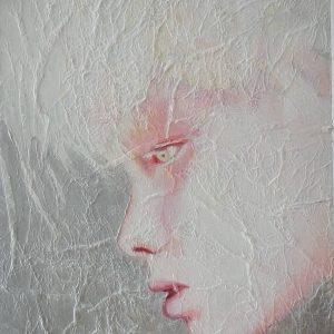 Un retrato surrealista y delicado en acrilico sobre tabla texturizada