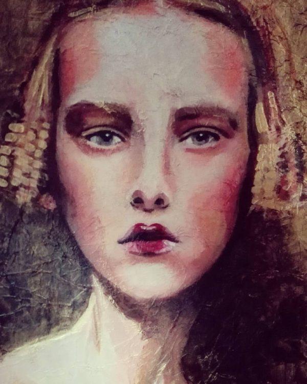Retrato de María del Roxo Colección Hadas y Brujas Clara Acrílico sobre tabla texturizada