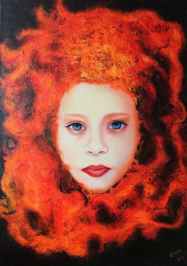 Un fascinante retrato o interpretación de la mítica Medusa, a base de texturas y capas de color.
