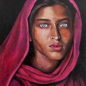 pintura-retrato-mujer-joven-bangladesh-panuelo-rosa-fucsia-ojos-claros