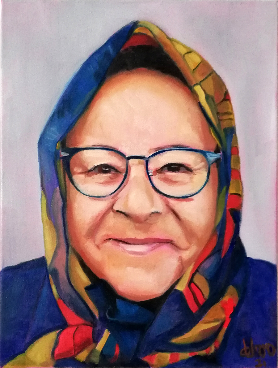 arte-maria-del-roxo-pintura-contemporanea-asturias-retrato-encargo-mujer-asturiana-panuelo-colores
