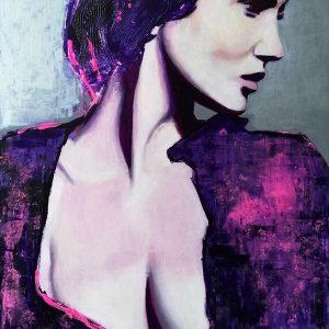Retrato muy femenino realizado con pintura acrílica y técnica mixta sobre tabla.