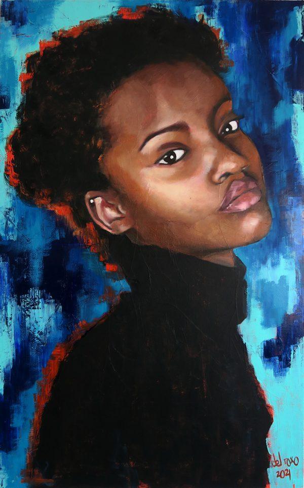 Pintura retrato de mujer negra joven con colores vivos reina de ebano