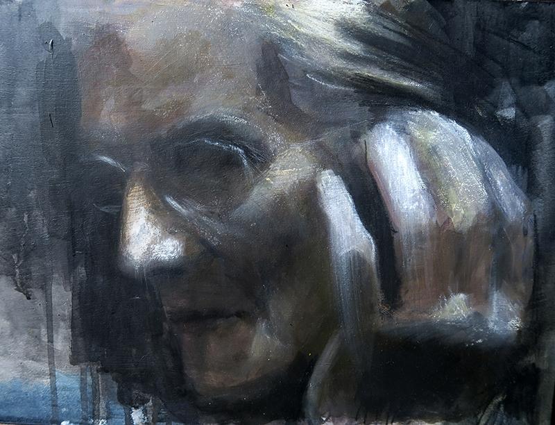 Retrato de Abuelina asturiana de gran expresividad manos y rostro
